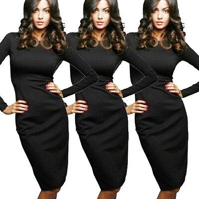 Women Sexy Black Hip Stretch Bodycon Long Sleeve Turtle Neck Midi Pencil Dress