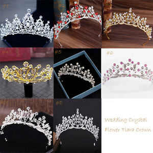 Wedding-Bridal-Crystal-Rhinestone-Tiara-Crown-Princess-Flower-Headband-Tiaras