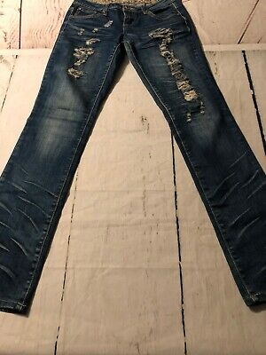 Soundgirl Women's Jeans Destroyed Straight Leg Revealing Stretch Jr Women's Clothing Size 7 X 33 Terrific Value Clothing, Shoes & Accessories