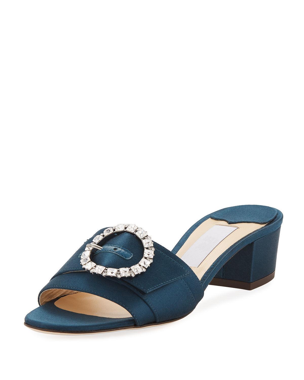 Jimmy Choo Granger Satin Slide Sandals 37.5 MSRP   695.00