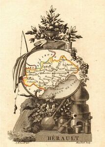HÉrault Département Scarce Antique Map/carte By A.m Perrot 1823 Old To Reduce Body Weight And Prolong Life