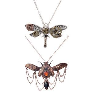 2Pcs-Steampunk-Punk-Rock-Choker-Dragonfly-Shaped-Necklace-Gear-Charm-Pendant