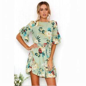 70616bda5a Chiffon Beach Dress Women Summer Floral Print O-Neck Short Sleeve ...