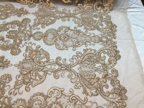 """LACE FABRIC-SHINY SEQUINS EMBROIDERY DAMASK DESIGN-TAUPE MESH 54/"""" WIDE-1 YARD."""