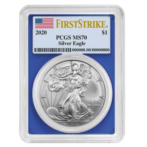 2020 $1 American Silver Eagle PCGS MS70 First Strike Flag Label Blue Frame