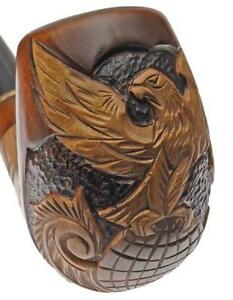 Fumo PIPA PIPE RADICA DA COLLEZIONE * EAGLE ON GLOBE * Hand Carved Smoking Pipe