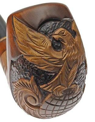 Tabacco Fumo PIPA PIPE RADICA DA COLLEZIONE * EAGLE ON GLOBE * hand carved pipe