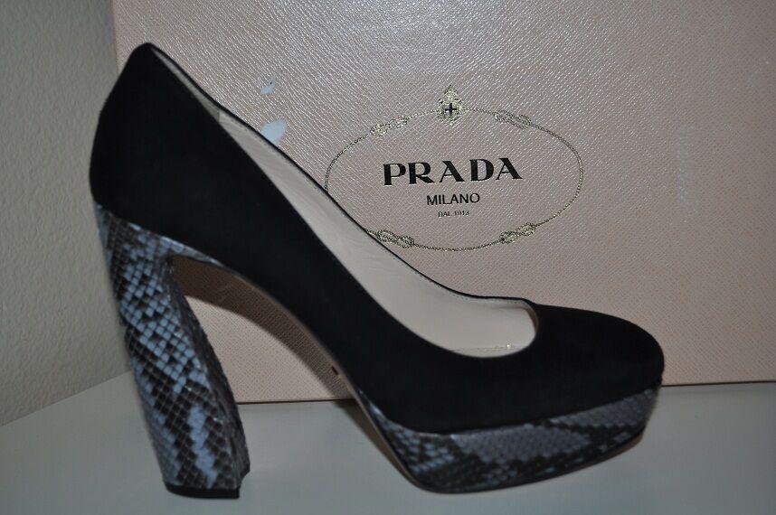 NIB  890+ PRADA Camoscio Black Suede & Python Platform Pump shoes Sz 10   40 HOT