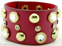 Last One Dark Pink Leather Bracelet With Gold Rivet Studs & Crystal Bling