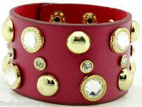 Last One Dark Pink Leather Bracelet With Gold Rivet Studs & Crystal Bling