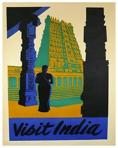 VINTAGE TRAVEL ART PRINT EXOTIC INDIA by Steve Forney Poster 19x13