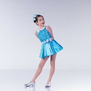 6529e1803e78 1st Position White Blue Sequin Collar Glitz Dance Dress Costume | eBay