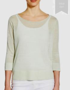Eileen Fisher Organic Linen and Nylon Sheer Boxy Sweater Sz S NWT