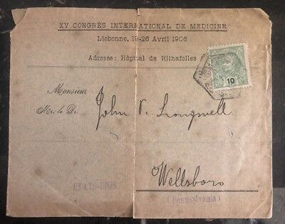 Portugal & Kolonien Briefmarken 1900s Lissabon Portugal Congress Of Medicine Abdeckung Zu Wellsboro Pa Usa