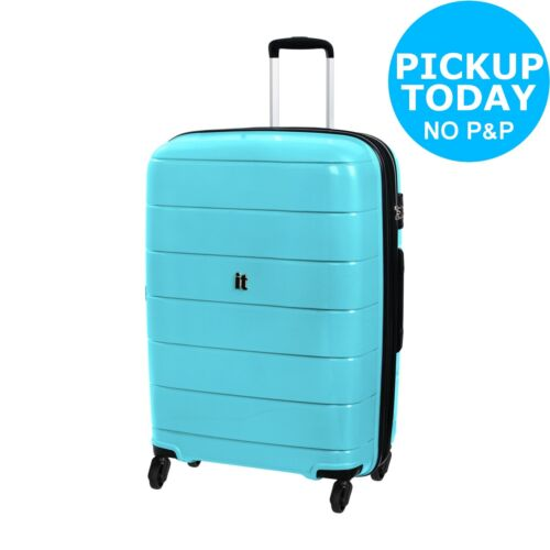 Ice Blue IT Luggage Asteroid Large 4 Wheel Hard Suitcase