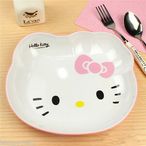 Image is loading Hello-Kitty-Cat-face-Melamine-Cartoon-Dinnerware-Tray- & Hello Kitty Cat face Melamine Cartoon Dinnerware Tray Plate ...