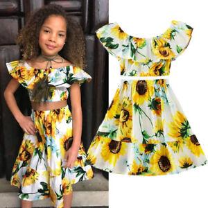 8e79cdd7e48 NEW Flowers Kids Baby Girl Off Shoulder Crop Tops Skirt Dress ...
