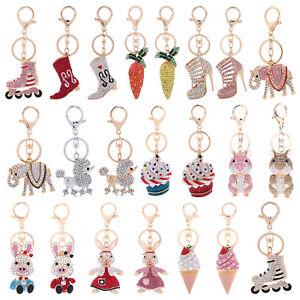 Fashion-Crystal-Rhinestone-Keyring-Keychain-Handbag-Purse-Charm-Car-Key-Chain