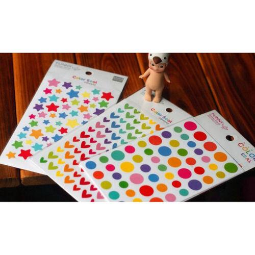 12 Sheets Rainbow Heart Sticker Diary Planner Journal Scrapbook Decor Ablums .*