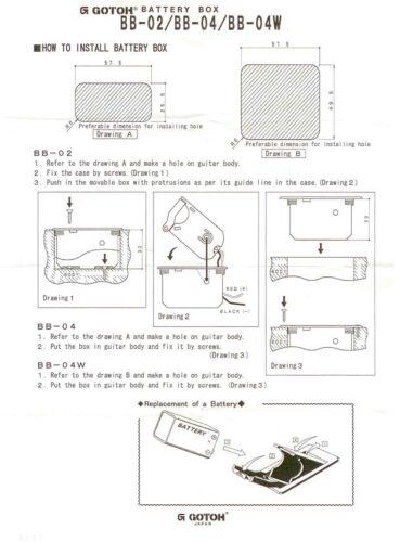 BLACK 18 Volt Deluxe JAPAN GOTOH BB-04W Double 9 Volt Battery Compartment Box