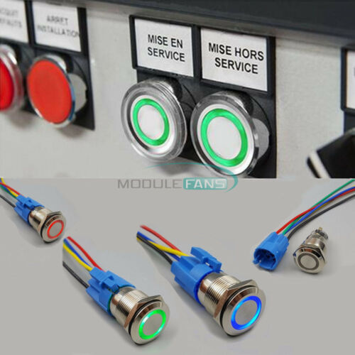 19mm 12V Waterproof Metal 5Pin ON-OFF Momentary LED Push Button Switch Connector