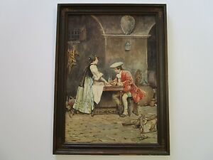FINEST-CASIMIRO-TOMBA-PAINTING-ANTIQUE-CENTURY-ITALIAN-MASTER-GENRE-FIGURES-RARE