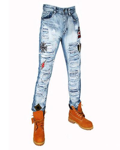Mens premium Denim Slim Taper Fit jeans Urban Biker Pants by Bleeker /& Mercer