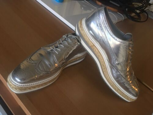 Prada Platform Silver Metallic Leather Brogue Wing