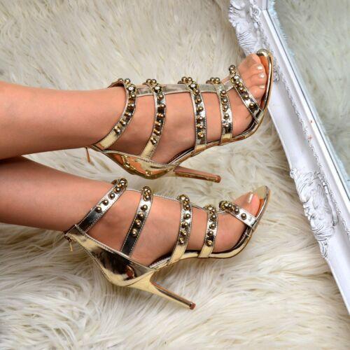 Femme Stiletto Talon Gladiateur Sandale à Lanières cloutées chaussure Métallique Talons Taille