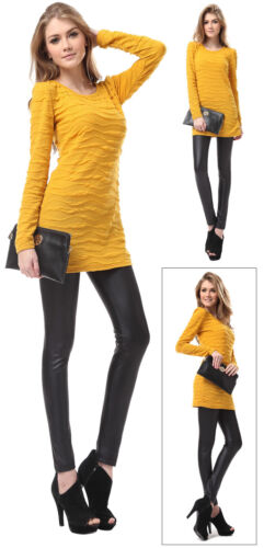 Full Length Shiny Wet Mat Look Faux Imitation Leather Leggings Pants Size 6-20
