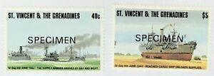 St-Vincent-2084-2085-MNH-Specimen-CV-10-30-D-Day-Supply-Armada-Cargo-Ship