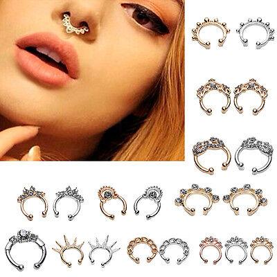 Charm Fake Septum Clicker Crystal Nose Ring Non Piercing Hanger