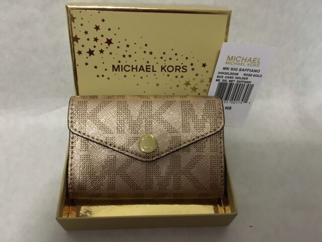 Michael kors signature rose gold metallic saffiano business card michael kors signature rose gold metallic saffiano business card holder new tags colourmoves
