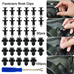 150X-Car-Plastic-Trim-Door-Panel-Retainer-Clips-Rivet-Fastener-Mud-Flaps-Push