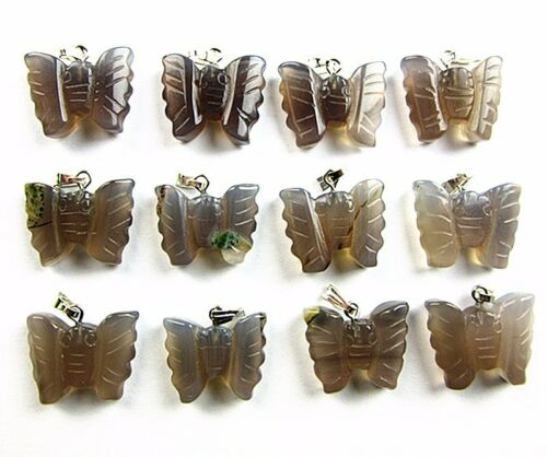 12PCS 22x18x7mm gray agate carved butterfly pendant bead Vk6335