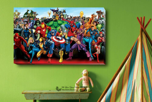 Marvel Characters Stretched Canvas Print Framed Wall Art Kid Room Decor Painting