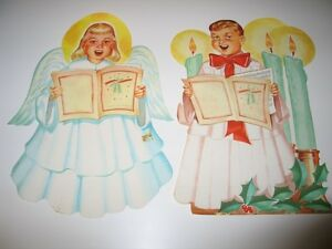 Vintage-Christmas-Litho-Paper-Choir-Boy-Angel-Caroler-Decorations-50-039-s-Dennison