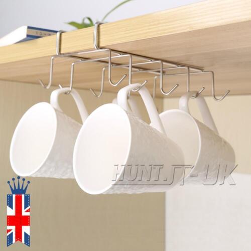 10 Crochet de stockage de support de tasse de thé en acier sous l/'étagère Acier