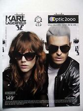 PUBLICITE-ADVERTISING :  OPTIC 2000 Karl Lagerfeld  2016 Lunettes