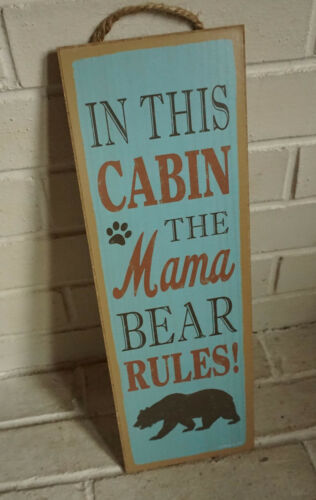 Cabin Lodge Sign MAMA BEAR RULES Rustic Blue Wood Plank Log Home Kitchen Decor