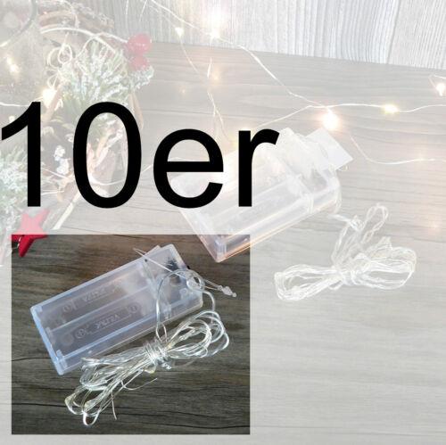 Draht Lichterkette LED 10er 1m od 20er 2m warmweiß Micro Mini Batterie biegsam