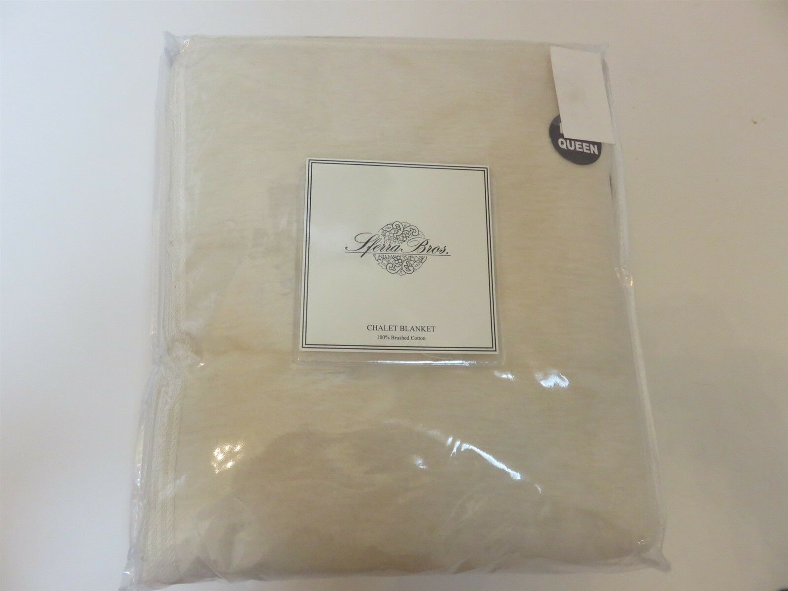 Sferra CHALET Ivory King Blanket Brushed Plush Cotton  385 NEW