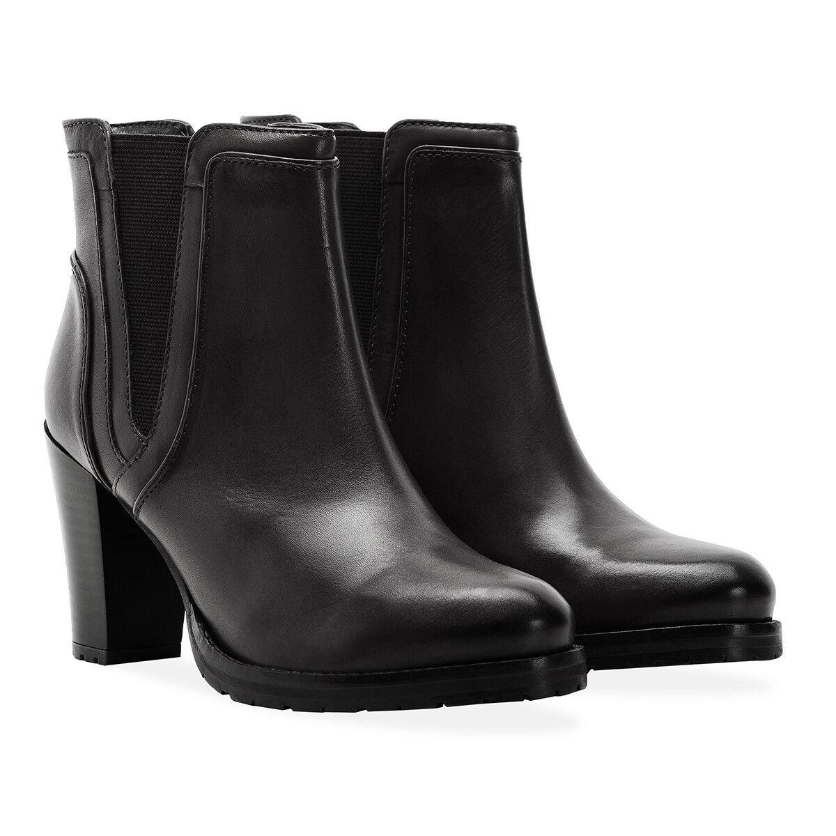 Redfoot Damas De Cuero Negro Clásico Botas De Tacón Alto Harriet /euro 42