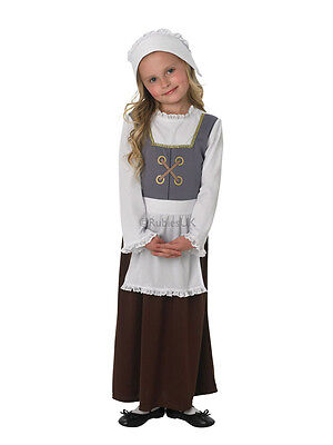Child Victorian Maid Poor Girls Book Day Week New Fancy Dress Costume Kids