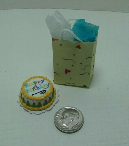 Dollhouse Miniature Happy Birthday Cake by Bright deLights /& Gift Bag 1:12 scale
