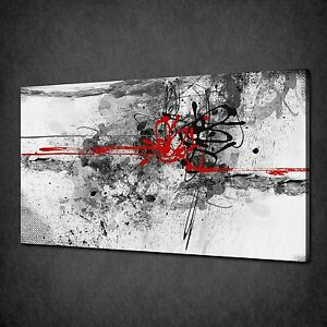Image Is Loading RED GREY BLACK PAINT SPLASH ABSTRACT CANVAS WALL