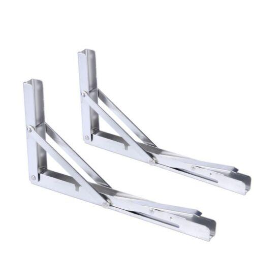 Pair Polished Stainless Folding Shelf Heavy Duty Bracket Bench Table 330lb