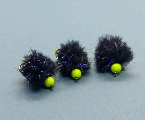 FL Chartreuse Yellow Bead 3 x Black Electric UV Eggstasy Egg Trout Flies