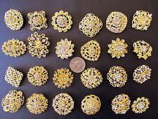 Brooch Lot 24 Gold Mixed Pin Rhinestone Crystal Wedding Bouquet DIY Kit