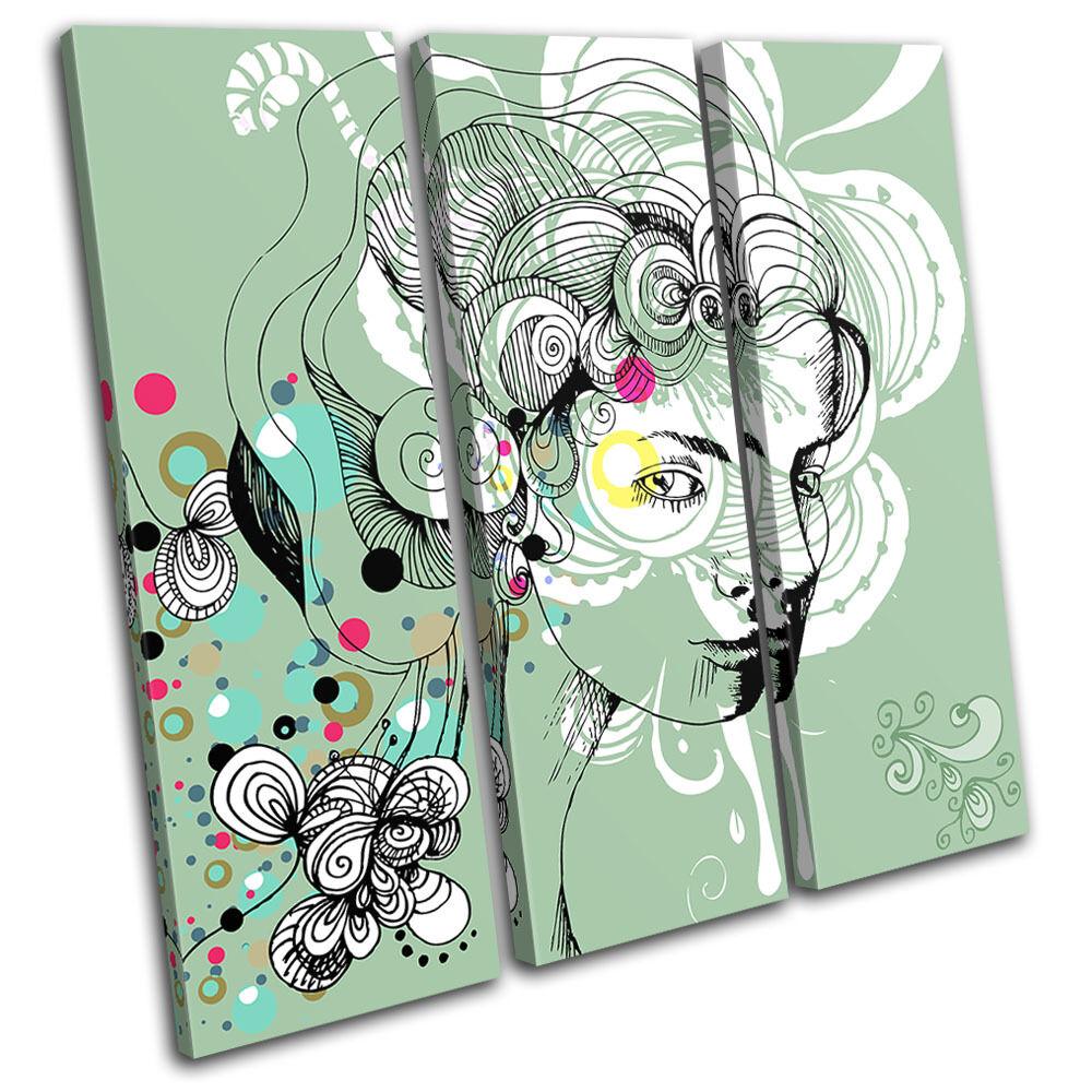 Floral Floral Floral Portrait Fashion Abstract TREBLE TELA parete arte foto stampa 2329fc